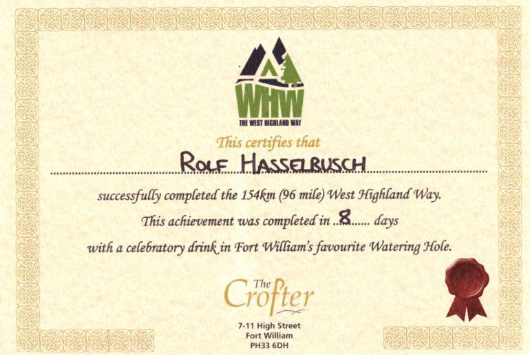 West Highland Way Zertifikat