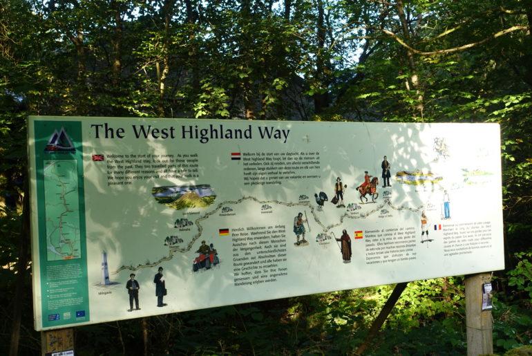 Übersichtskarte des West Highland Way